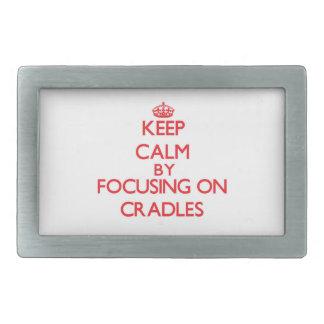 Keep Calm by focusing on Cradles Rectangular Belt Buckles