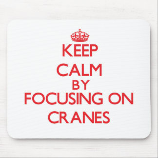 Keep Calm by focusing on Cranes Mouse Pad