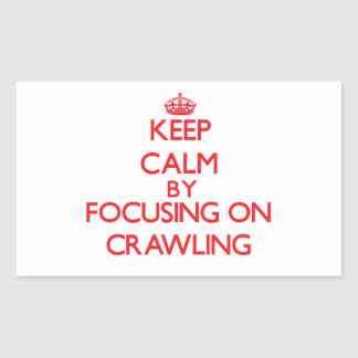 Keep Calm by focusing on Crawling Rectangular Stickers