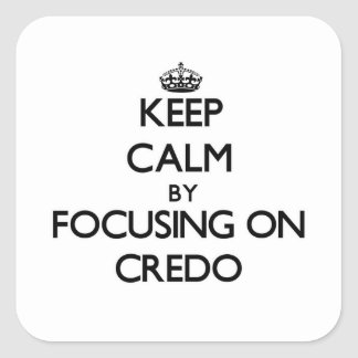 Keep Calm by focusing on Credo Square Sticker