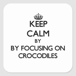 Keep calm by focusing on Crocodiles Square Stickers