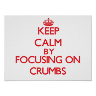Keep Calm by focusing on Crumbs Poster