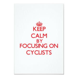 Keep Calm by focusing on Cyclists Custom Invitation