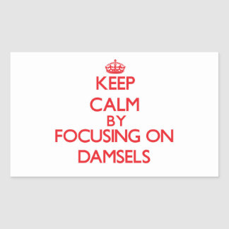 Keep Calm by focusing on Damsels Rectangle Sticker