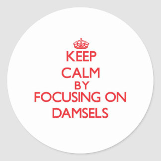 Keep Calm by focusing on Damsels Round Stickers