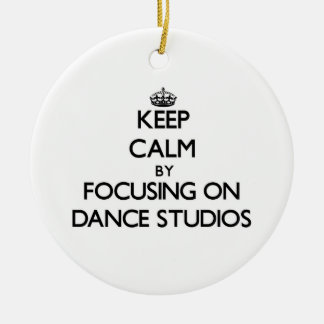 Keep Calm by focusing on Dance Studios Double-Sided Ceramic Round Christmas Ornament