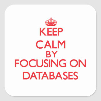 Keep Calm by focusing on Databases Square Stickers