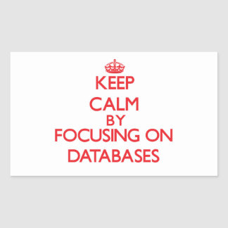 Keep Calm by focusing on Databases Rectangular Stickers