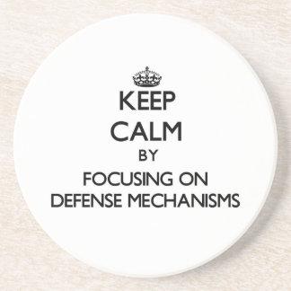 Keep Calm by focusing on Defense Mechanisms Beverage Coaster