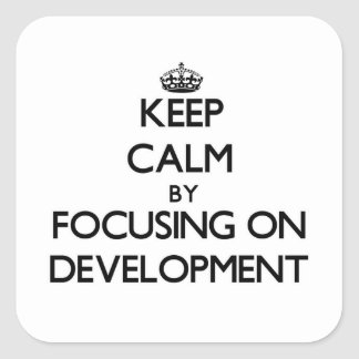 Keep Calm by focusing on Development Square Stickers