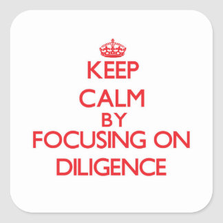 Keep Calm by focusing on Diligence Sticker