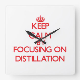 Keep Calm by focusing on Distillation Square Wall Clock