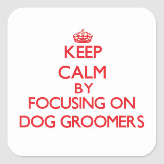 Keep Calm by focusing on Dog Groomers Square Sticker