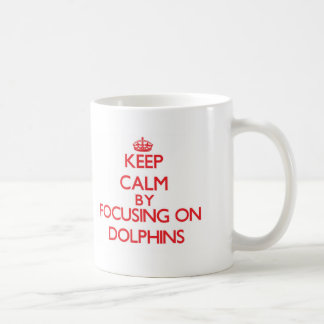 Keep Calm by focusing on Dolphins Classic White Coffee Mug