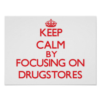 Keep Calm by focusing on Drugstores Poster
