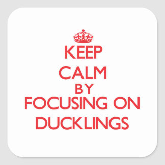 Keep Calm by focusing on Ducklings Square Sticker