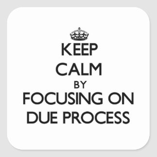 Keep Calm by focusing on Due Process Square Sticker
