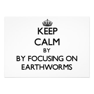 Keep calm by focusing on Earthworms Personalized Invitations