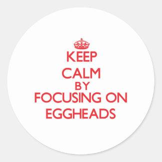 Keep Calm by focusing on EGGHEADS Round Sticker