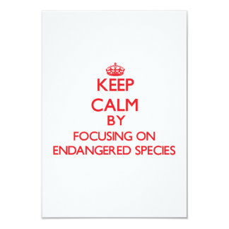 Keep Calm by focusing on ENDANGERED SPECIES 3.5x5 Paper Invitation Card