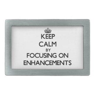 Keep Calm by focusing on ENHANCEMENTS Rectangular Belt Buckles