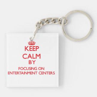 Keep Calm by focusing on ENTERTAINMENT CENTERS Acrylic Keychain