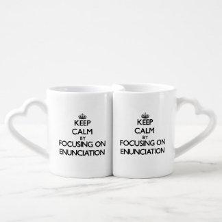 Keep Calm by focusing on ENUNCIATION Couples Mug
