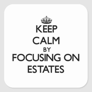 Keep Calm by focusing on ESTATES Square Sticker