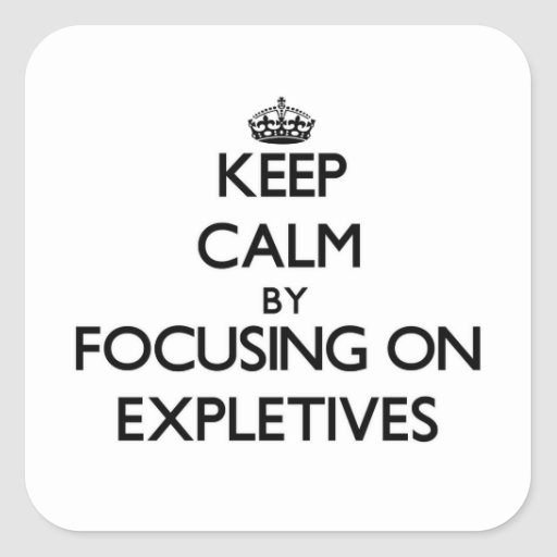 Keep Calm by focusing on EXPLETIVES Stickers