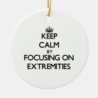 Keep Calm by focusing on EXTREMITIES Christmas Tree Ornament