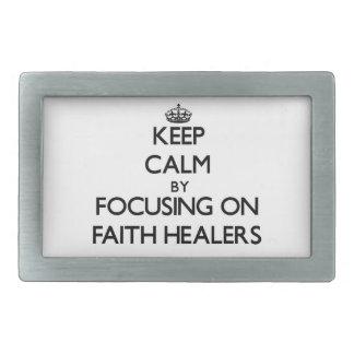 Keep Calm by focusing on Faith Healers Rectangular Belt Buckles