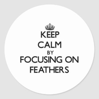 Keep Calm by focusing on Feathers Round Sticker