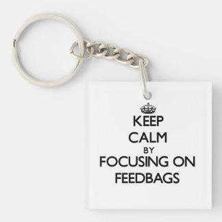 Keep Calm by focusing on Feedbags Single-Sided Square Acrylic Keychain