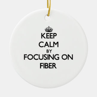 Keep Calm by focusing on Fiber Double-Sided Ceramic Round Christmas Ornament