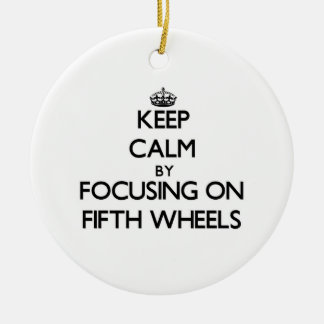 Keep Calm by focusing on Fifth Wheels Double-Sided Ceramic Round Christmas Ornament
