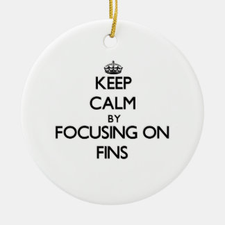 Keep Calm by focusing on Fins Christmas Ornament