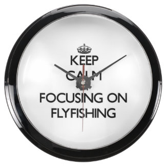 Keep Calm by focusing on Flyfishing Aquarium Clocks