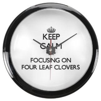 Keep Calm by focusing on Four Leaf Clovers Aquarium Clocks