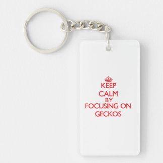 Keep calm by focusing on Geckos Single-Sided Rectangular Acrylic Keychain