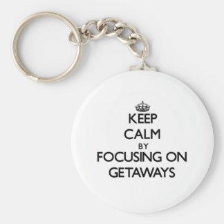 Keep Calm by focusing on Getaways Basic Round Button Keychain