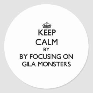 Keep calm by focusing on Gila Monsters Round Sticker