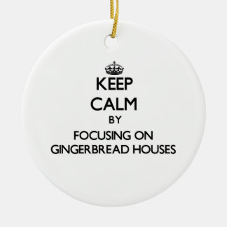 Keep Calm by focusing on Gingerbread Houses Double-Sided Ceramic Round Christmas Ornament