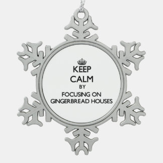 Keep Calm by focusing on Gingerbread Houses Snowflake Pewter Christmas Ornament