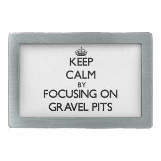 Keep Calm by focusing on Gravel Pits Rectangular Belt Buckle
