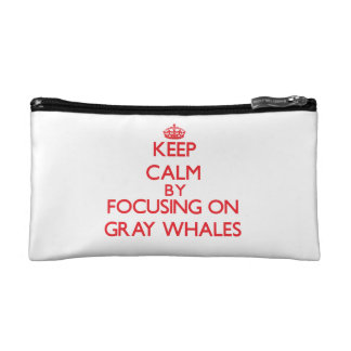 Keep calm by focusing on Gray Whales Cosmetic Bags