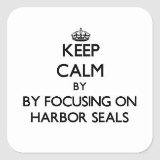 Keep calm by focusing on Harbor Seals Square Sticker