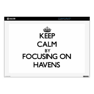 """Keep Calm by focusing on Havens 17"""" Laptop Decals"""