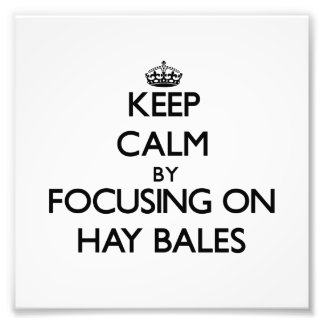 Keep Calm by focusing on Hay Bales Photo Print