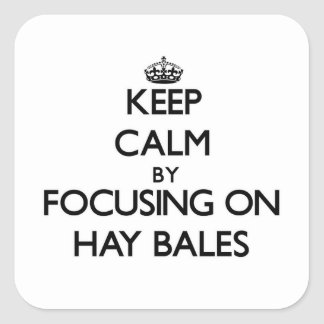 Keep Calm by focusing on Hay Bales Square Sticker