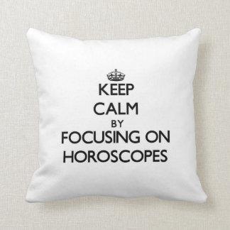 Keep Calm by focusing on Horoscopes Throw Pillows